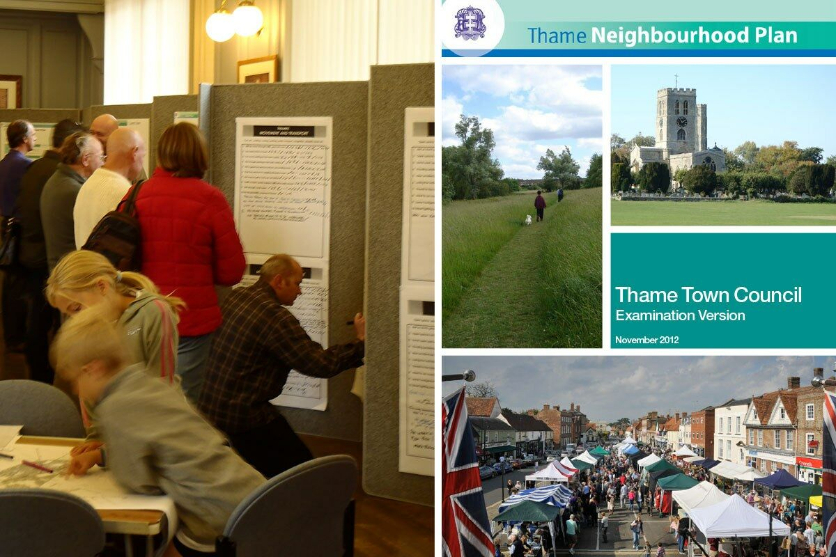 Consultation event and cover of the Neighbourhood Plan document