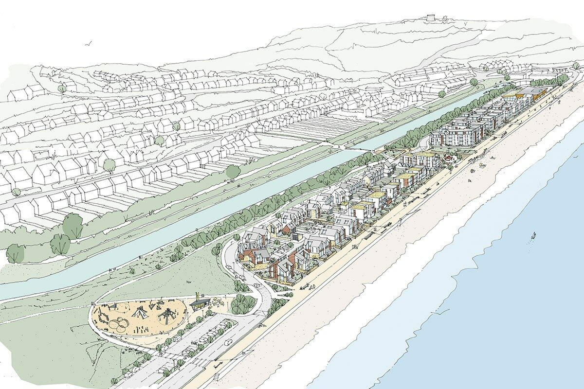 5612 Princes Parade Folkestone aerial view sketch