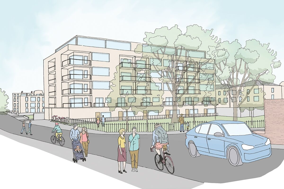 Illustrative view of proposals from the corner of Thessaly Road and Walworth Road